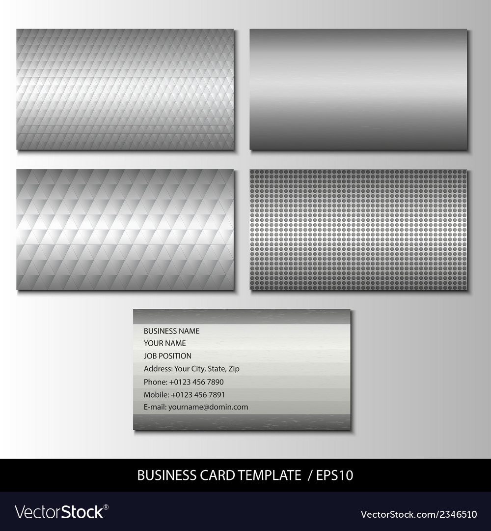 Set of metallic themed business card templates vector | Price: 1 Credit (USD $1)