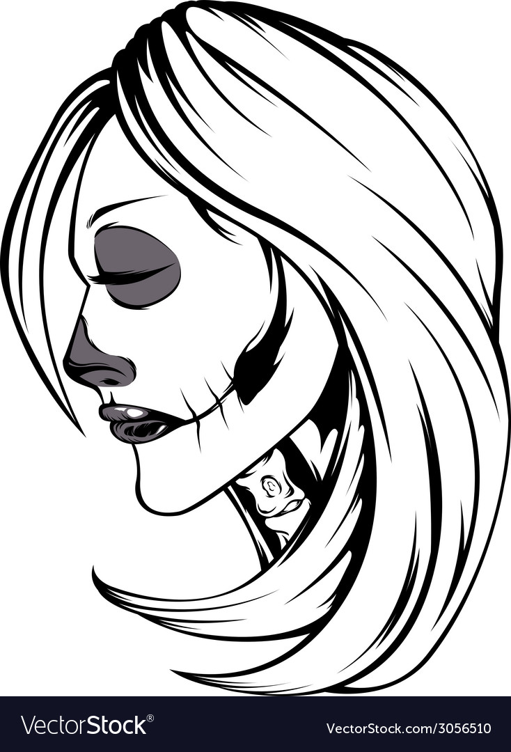 Skull girl vector | Price: 1 Credit (USD $1)