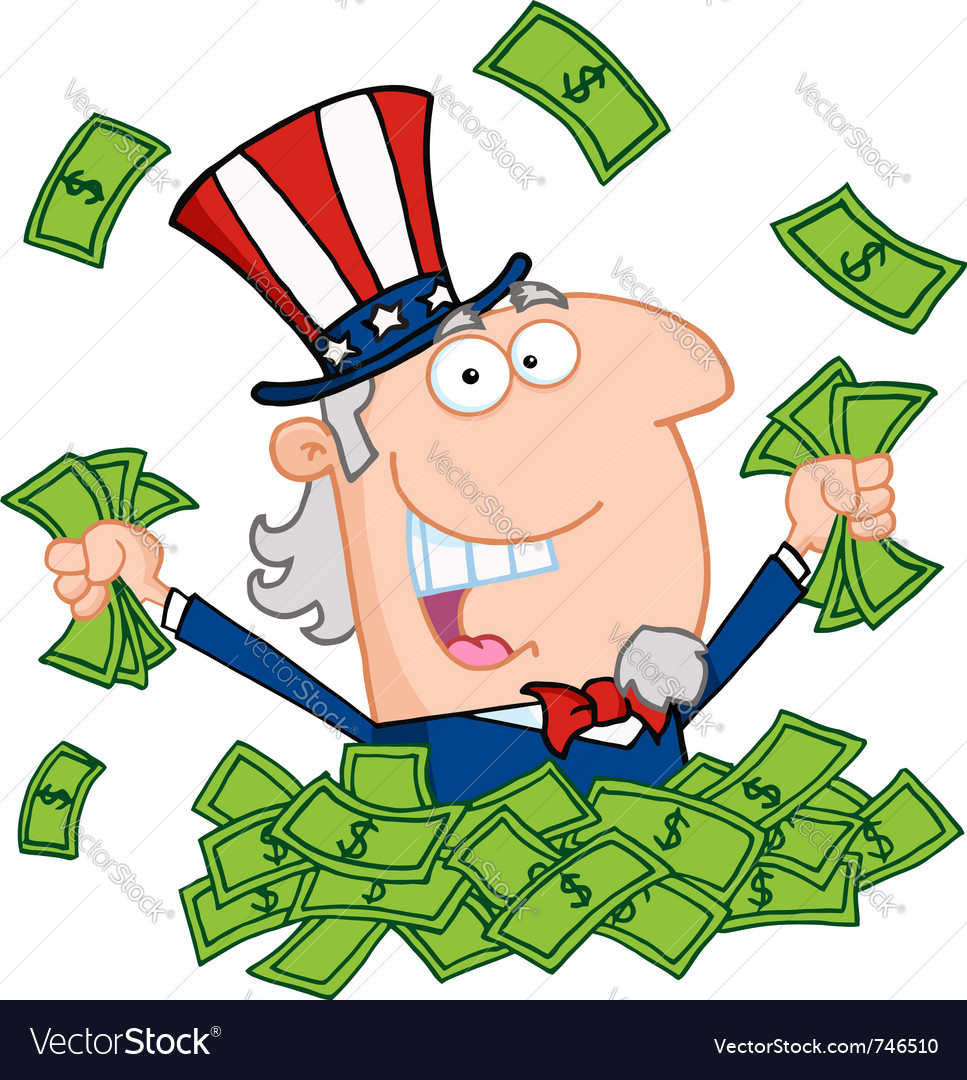 Uncle sam playing in a pile of cash vector | Price: 1 Credit (USD $1)