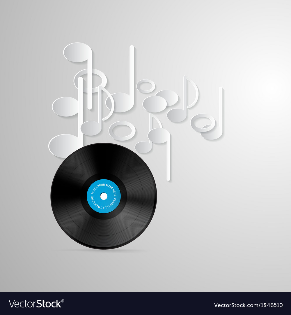 Vinyl record discs and paper notes on grey vector | Price: 1 Credit (USD $1)