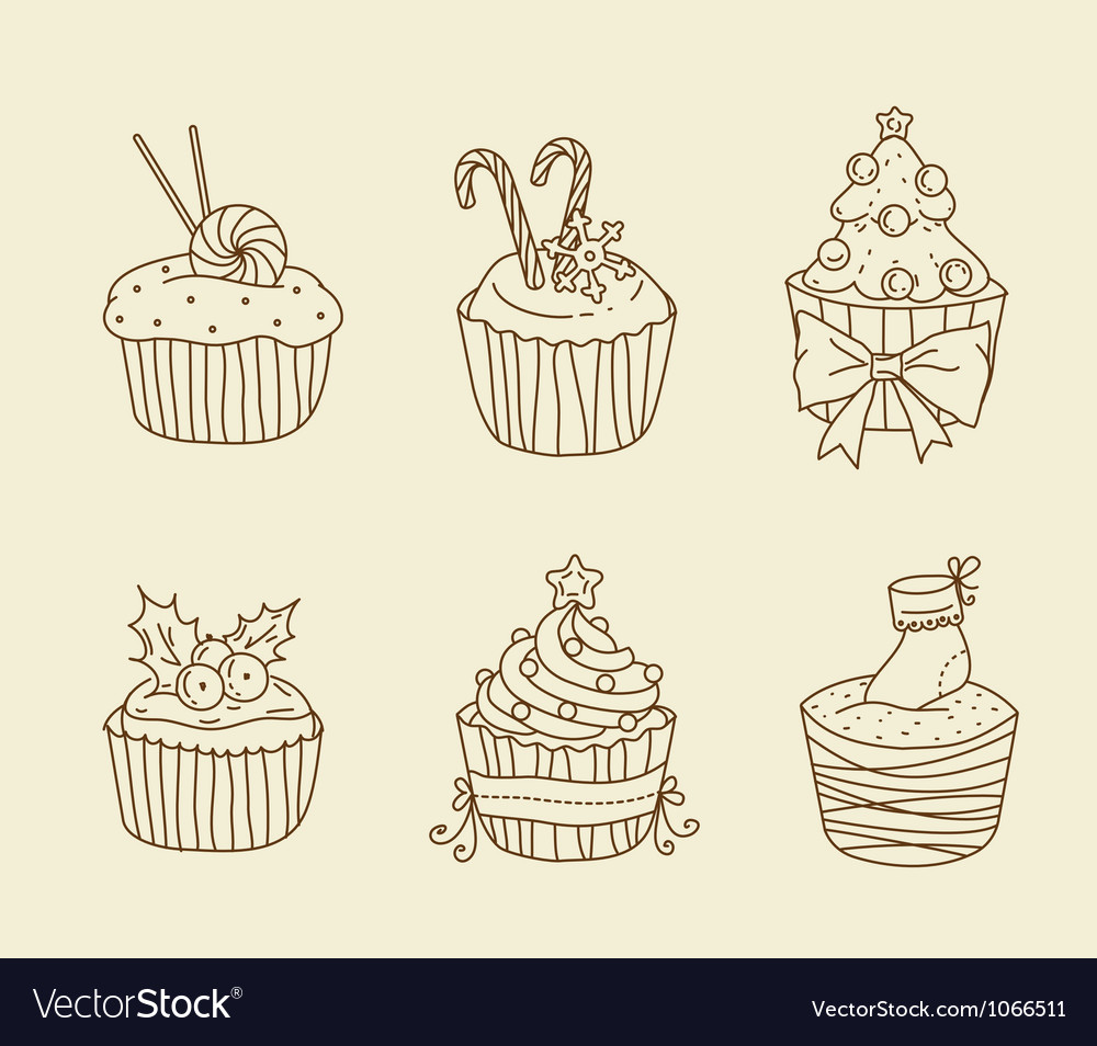 Christmas cupcakes vector | Price: 1 Credit (USD $1)