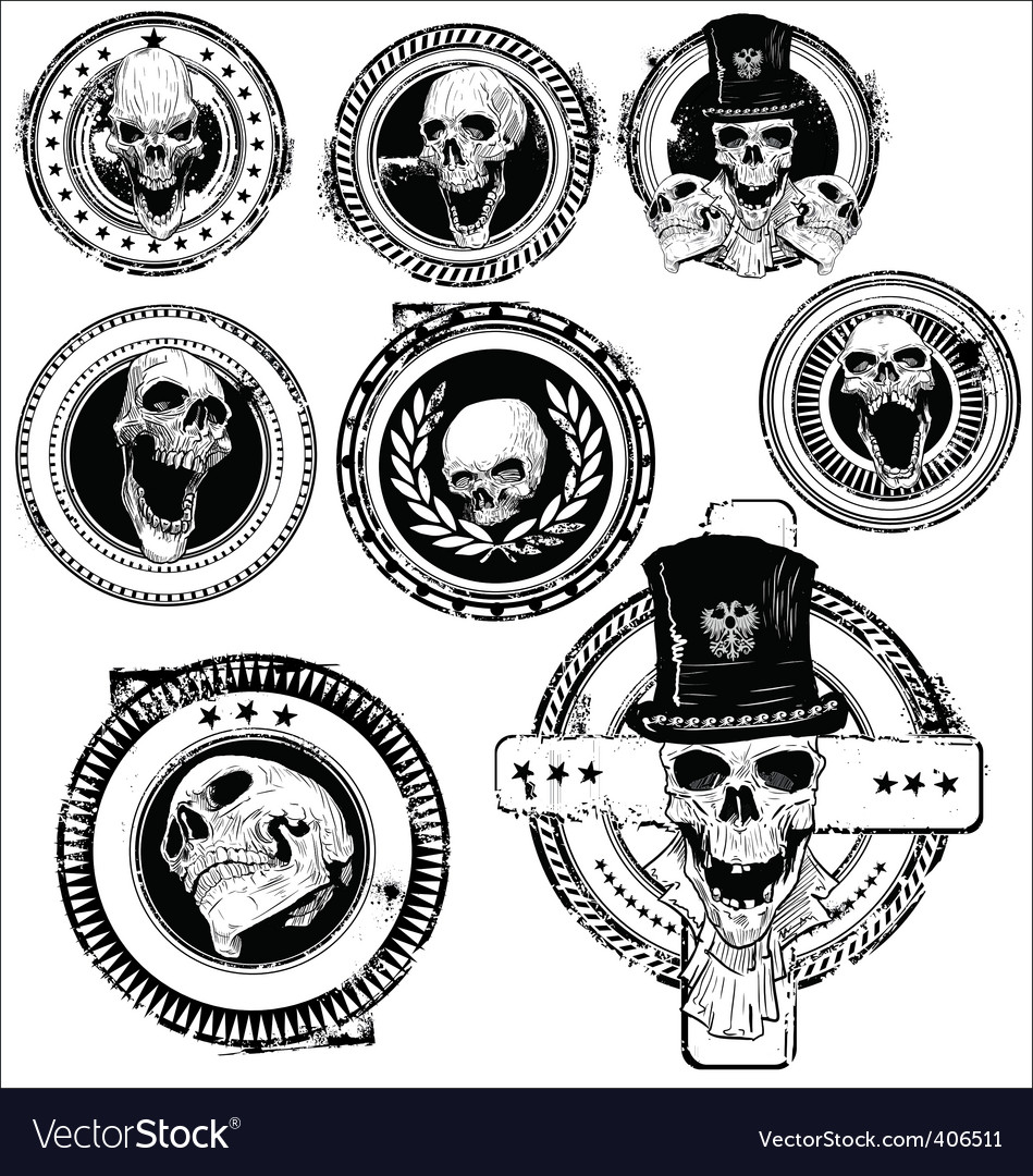 Grunge skull rubber stamps vector | Price: 1 Credit (USD $1)