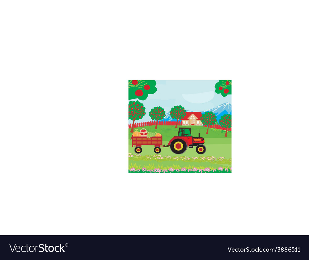 Landscape with apple trees and man driving a vector | Price: 1 Credit (USD $1)