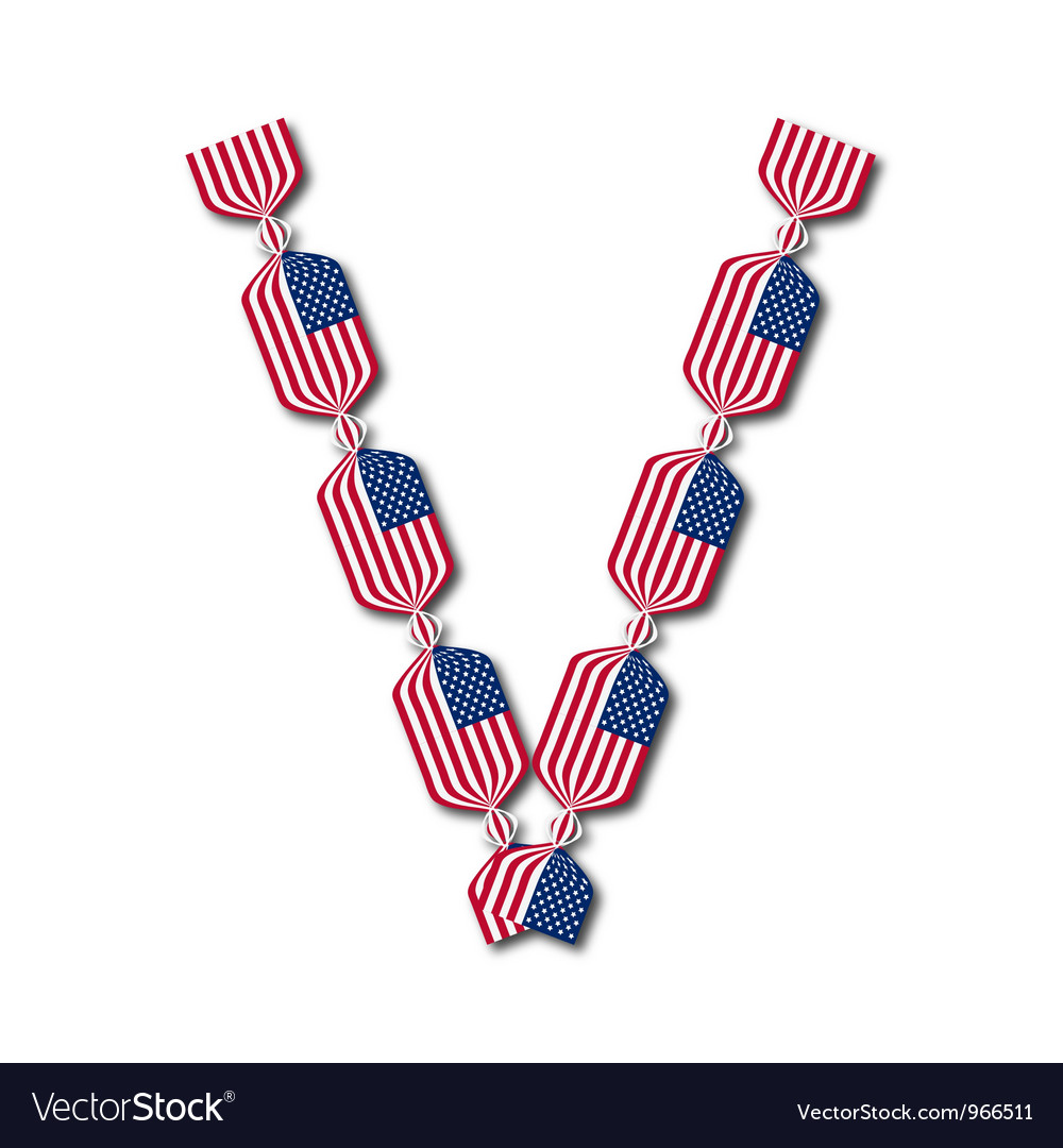 Letter v made of usa flags in form of candies vector | Price: 1 Credit (USD $1)