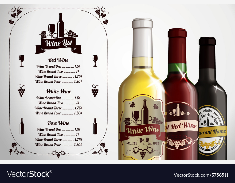 Menu template  for alcohol with three realistic vector