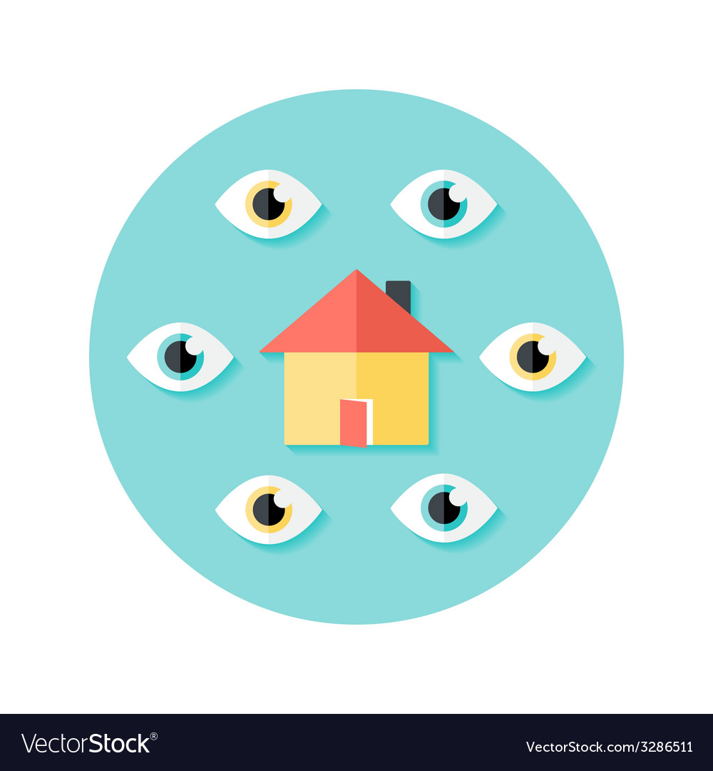 Open house circle flat icon vector | Price: 1 Credit (USD $1)