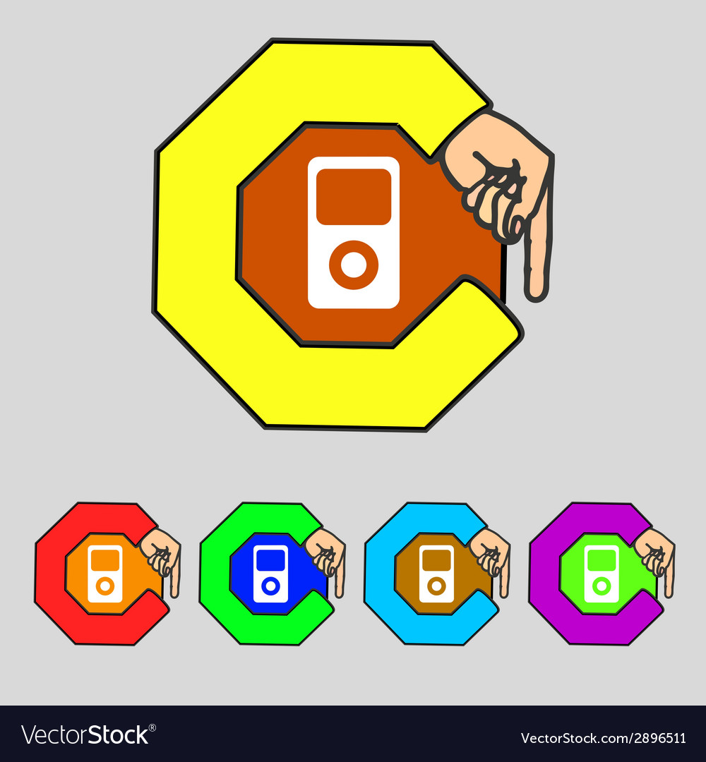 Portable musical player icon set colur buttons vector | Price: 1 Credit (USD $1)