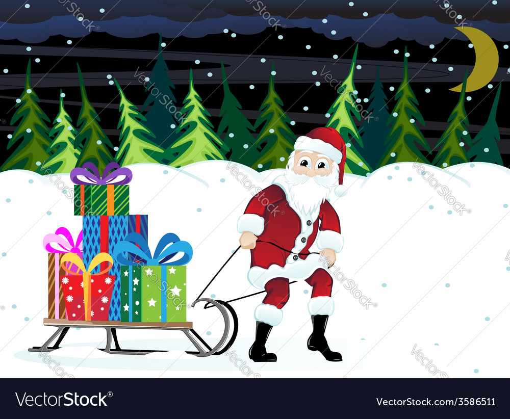 Santa claus in a winter forest vector | Price: 1 Credit (USD $1)