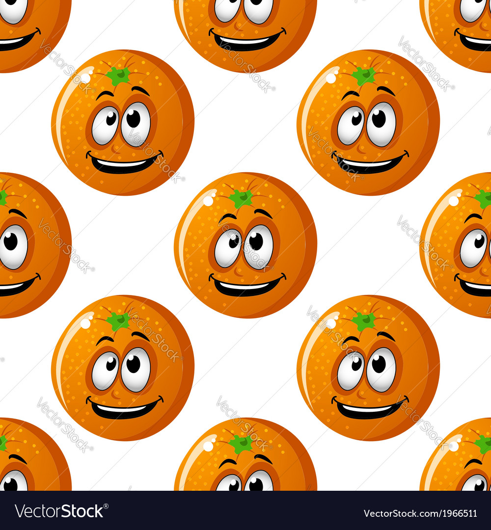 Seamless background pattern of cartoon oranges vector | Price: 1 Credit (USD $1)