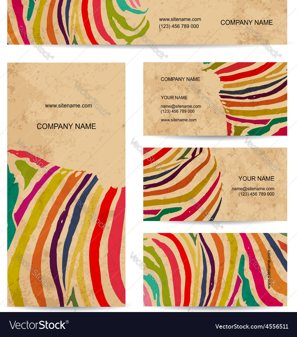 Set of business cards colorful zebra print design vector | Price: 1 Credit (USD $1)