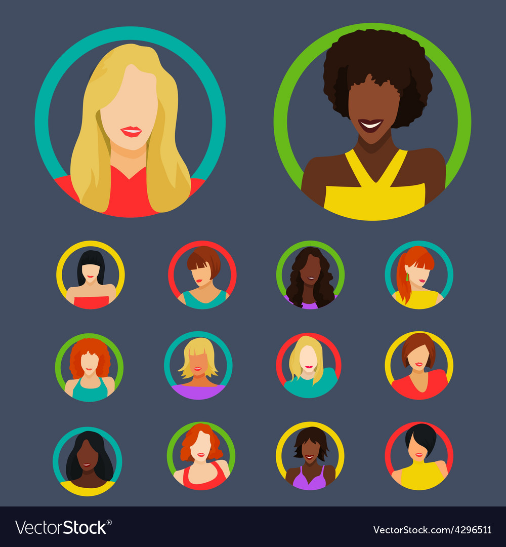 Set of female portraits vector | Price: 1 Credit (USD $1)