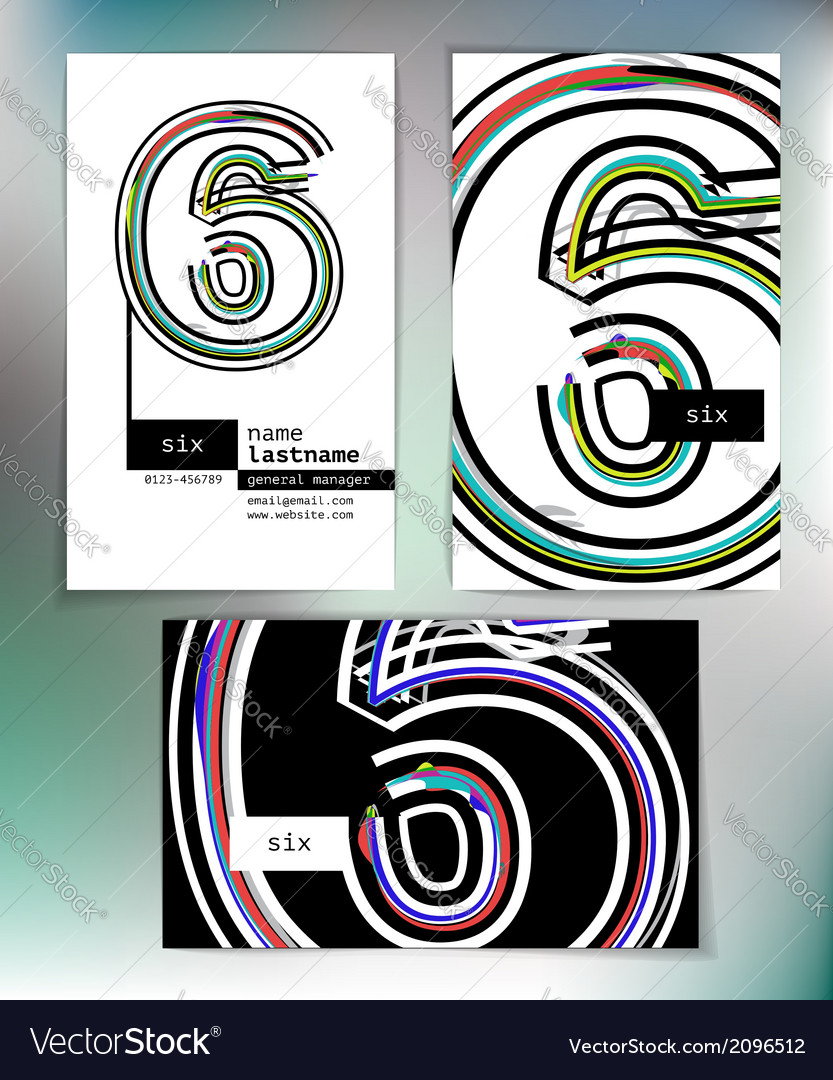 Business card design with number 6 vector | Price: 1 Credit (USD $1)