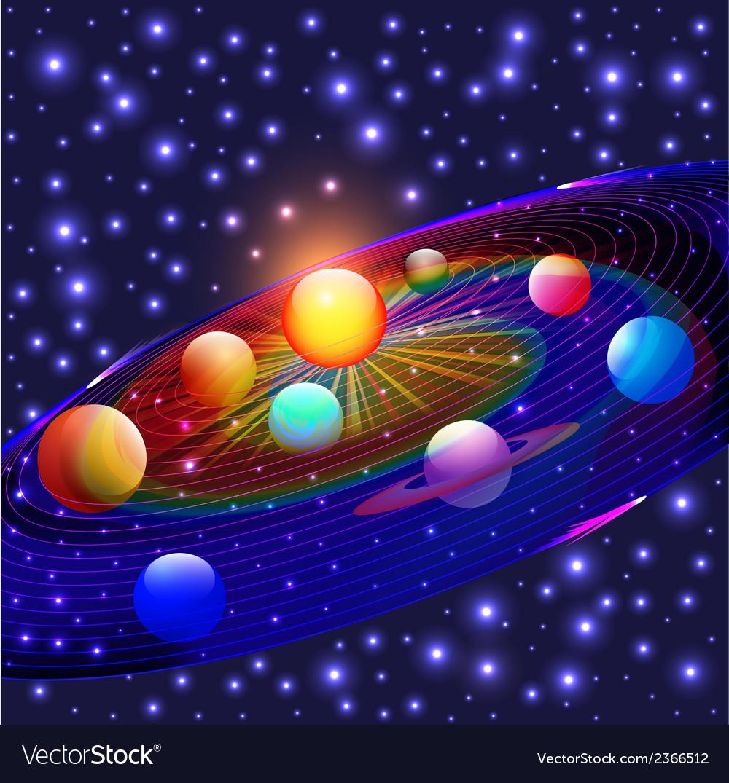 Cosmos planets vector | Price: 1 Credit (USD $1)