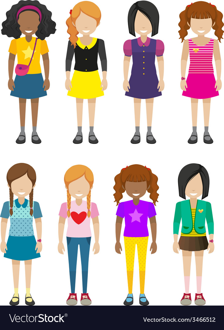 Faceless young ladies vector | Price: 1 Credit (USD $1)