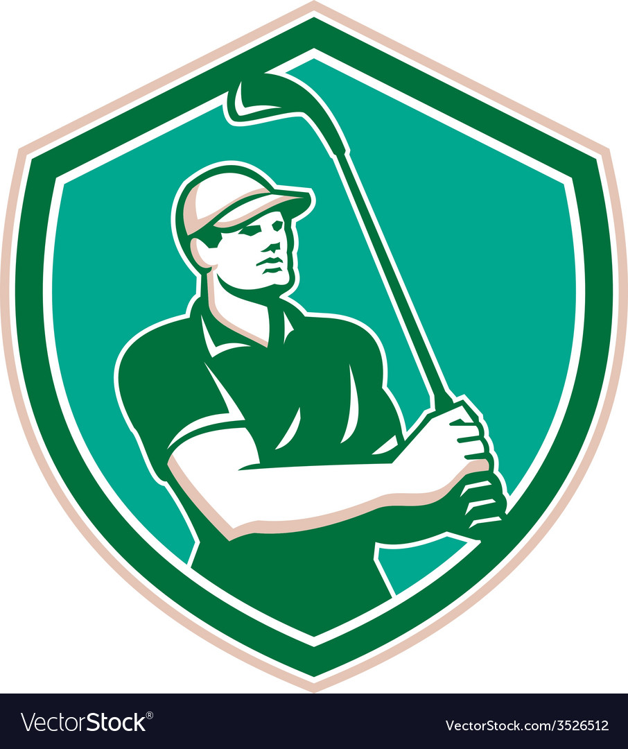 Golfer tee off golf shield retro vector | Price: 1 Credit (USD $1)