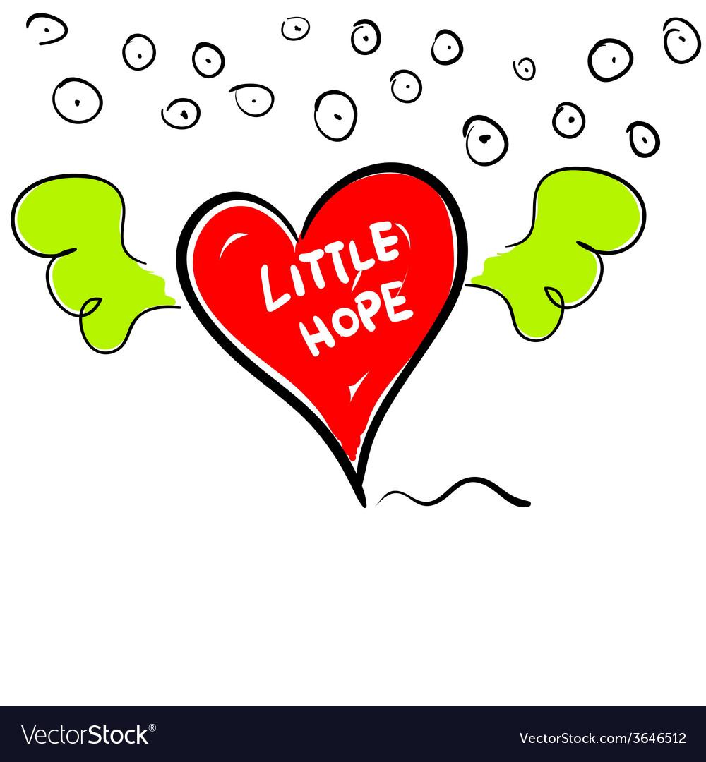 Little hope in heart cartoon vector | Price: 1 Credit (USD $1)