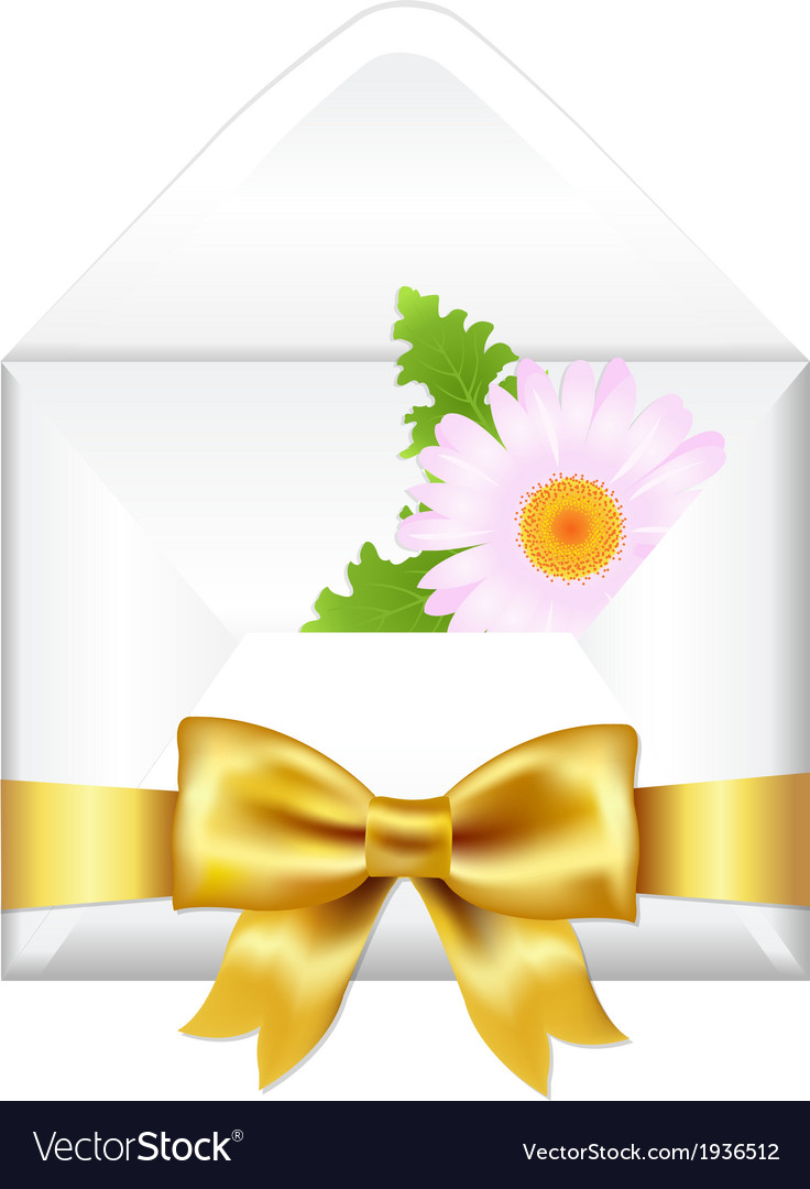 Open envelope with golden bow and flower vector   Price: 1 Credit (USD $1)