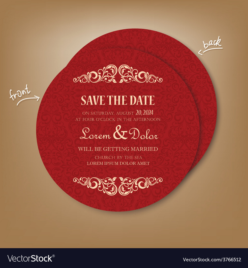 Round red save the date card vector | Price: 1 Credit (USD $1)
