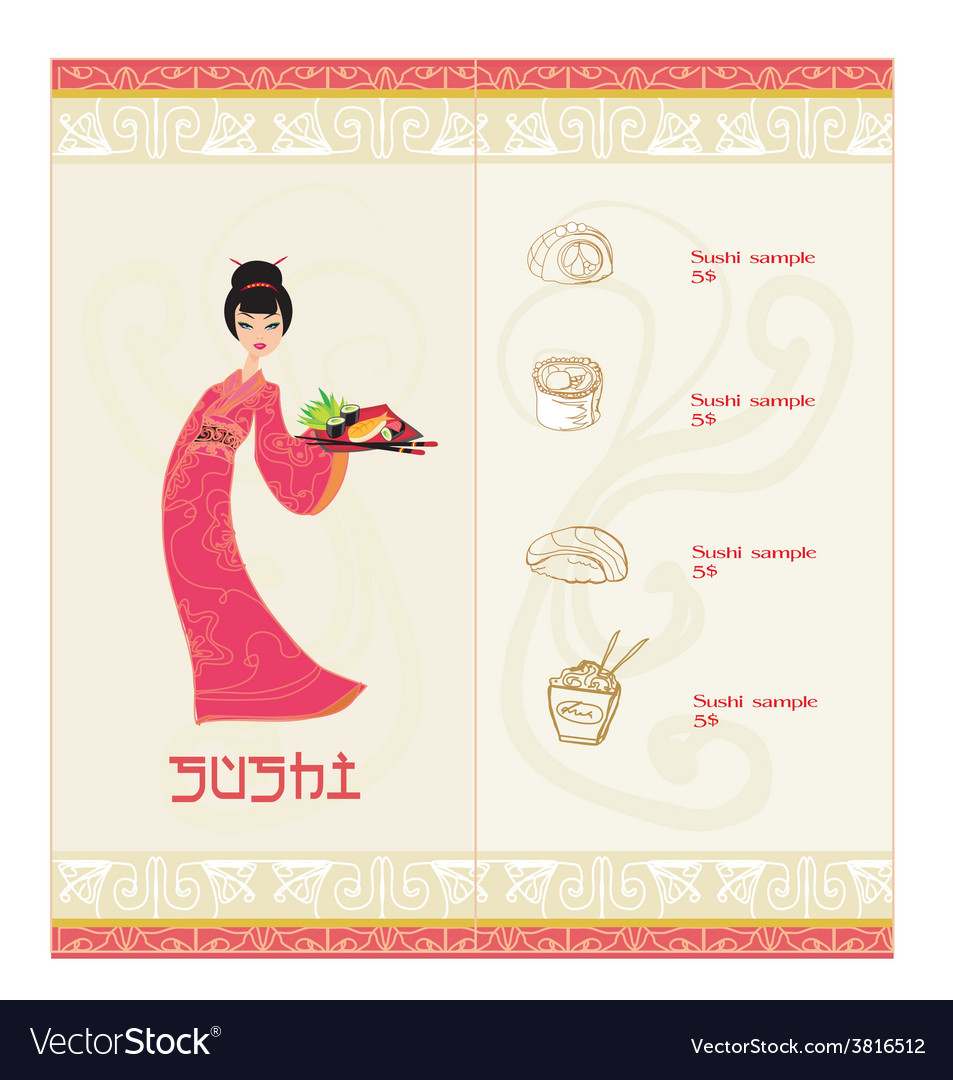Template of traditional japanese food with asian vector | Price: 1 Credit (USD $1)