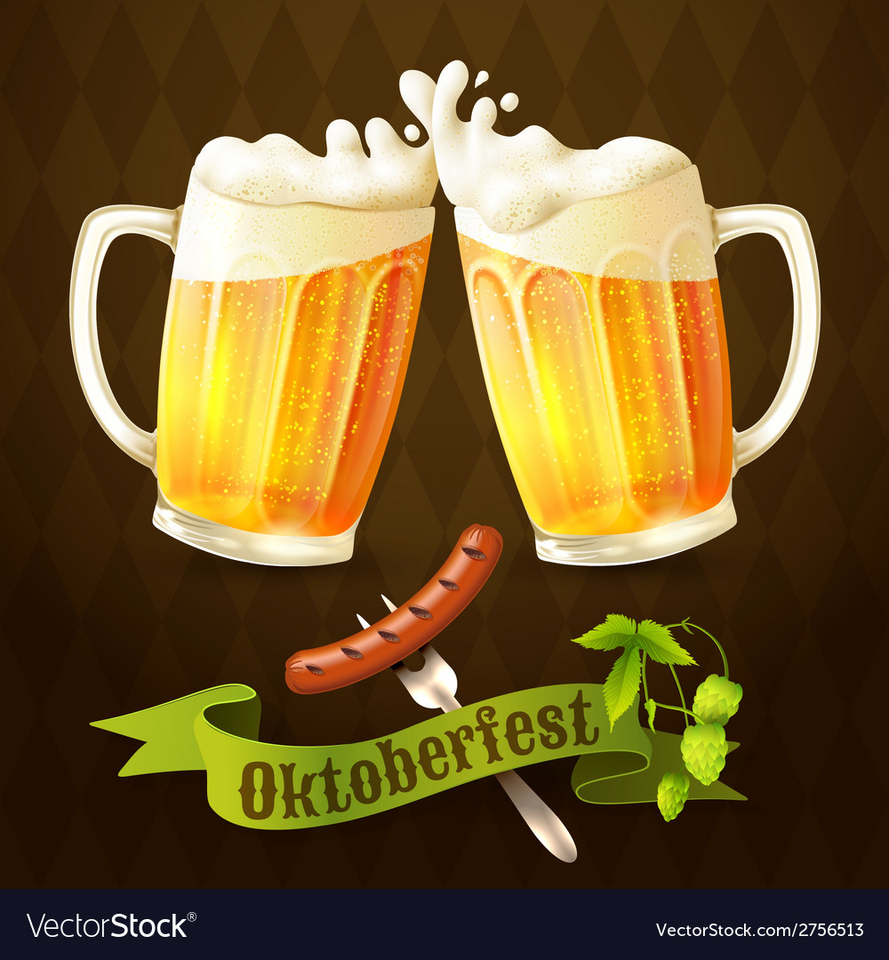 Beer mugs octoberfest poster vector | Price: 1 Credit (USD $1)