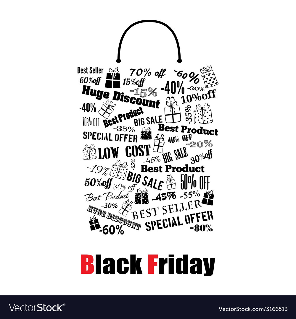 Black friday shopping bag vector | Price: 1 Credit (USD $1)