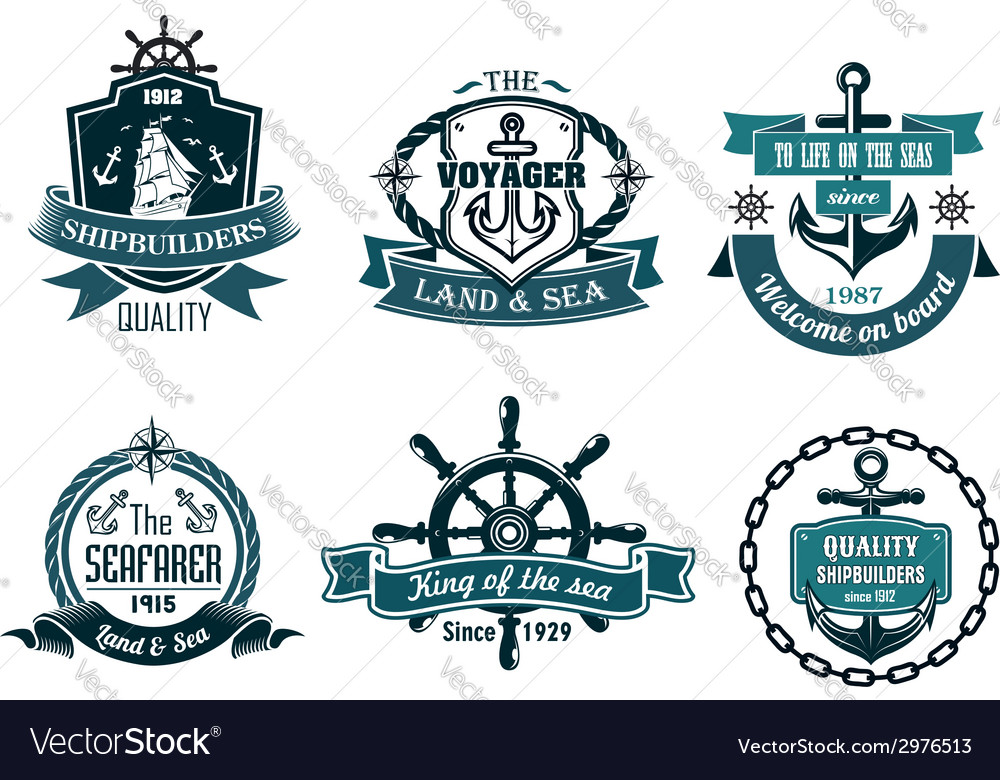 Blue nautical and sailing themed banners or icons vector | Price: 1 Credit (USD $1)