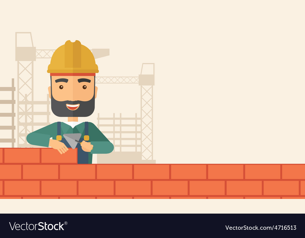 Builder man is building a brick wall vector | Price: 1 Credit (USD $1)