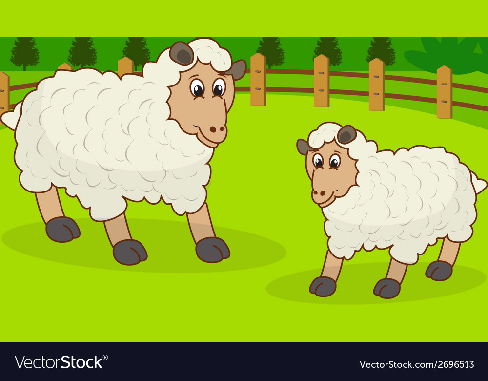 Cartoon sheep and rural meadow with green gra vector | Price: 1 Credit (USD $1)