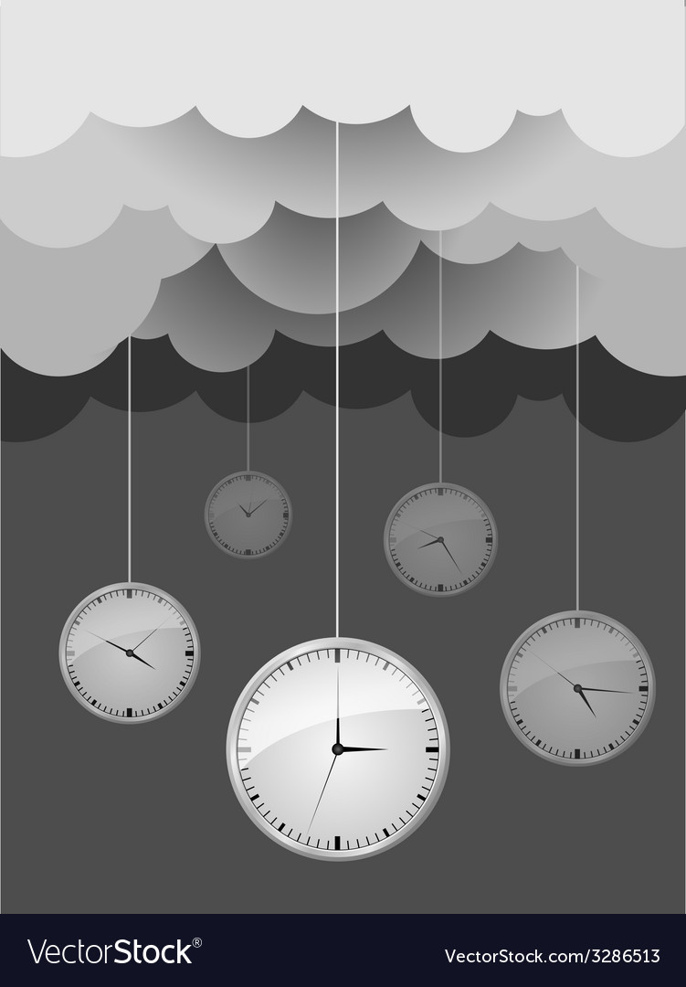 Dark gray clouds and clocks design idea vector | Price: 1 Credit (USD $1)
