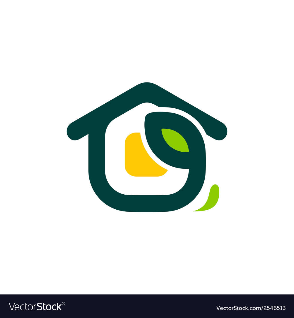 Eco house sign vector | Price: 1 Credit (USD $1)