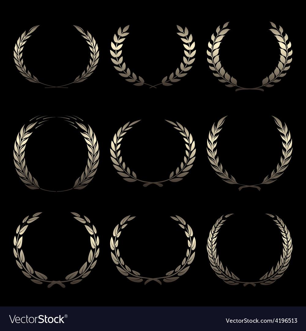 Gold award wreaths laurel on black background vector | Price: 1 Credit (USD $1)