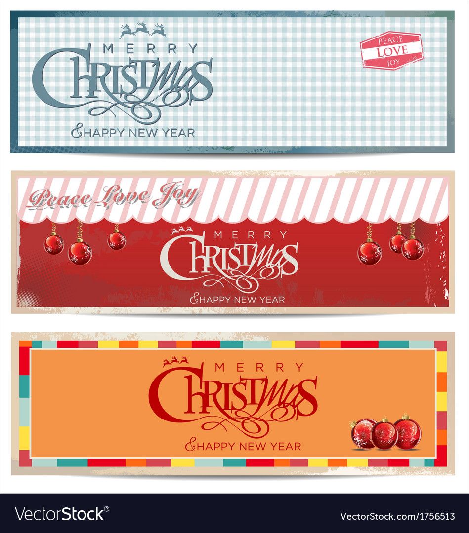 Merry christmas retro banner set vector | Price: 1 Credit (USD $1)