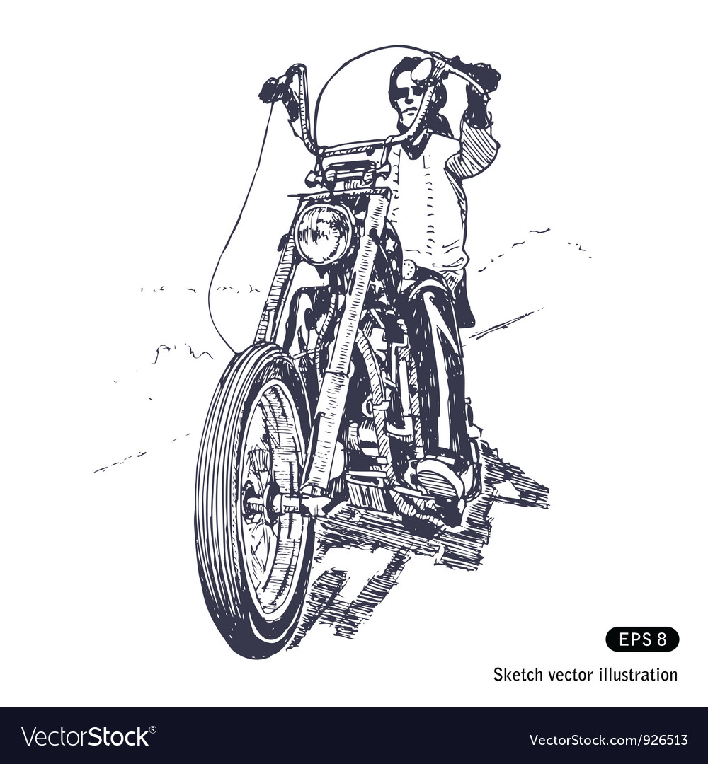 Rider on a chopper vector | Price: 1 Credit (USD $1)