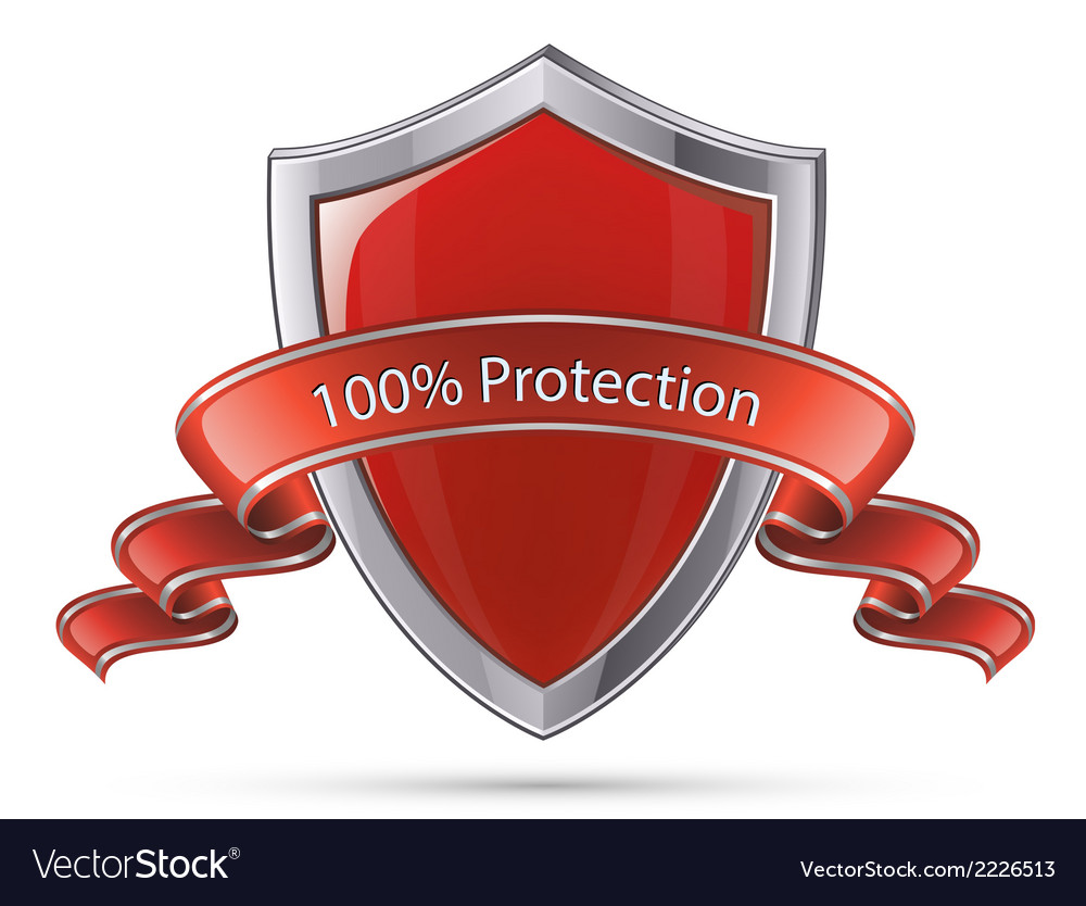 Shield symbol 100 percent protection vector | Price: 1 Credit (USD $1)