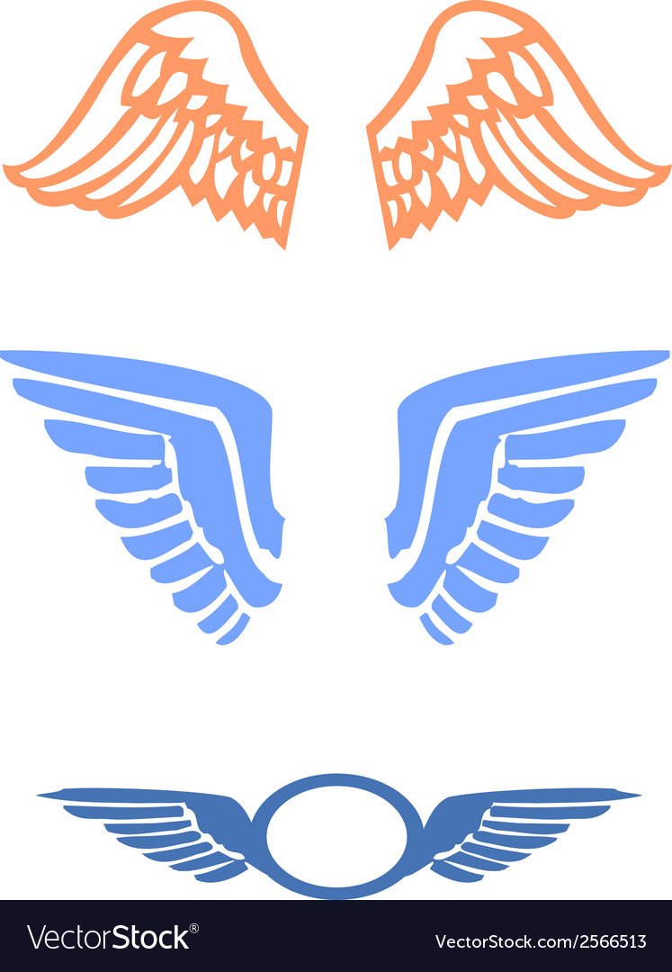 Stylized bird wings vector