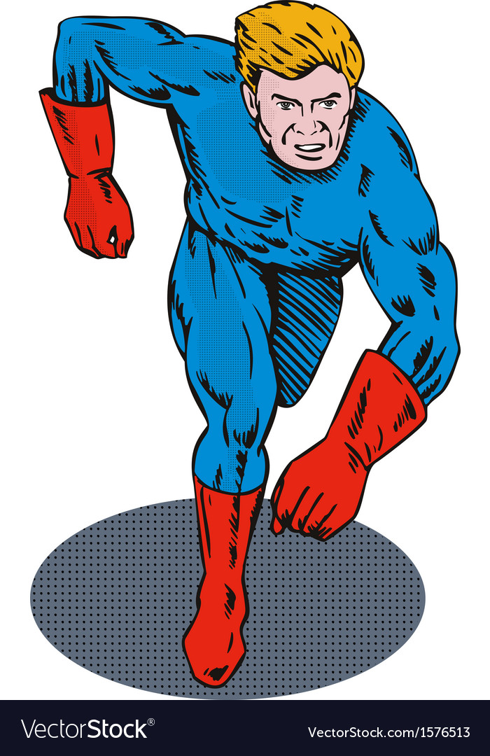 Super hero running retro vector | Price: 1 Credit (USD $1)