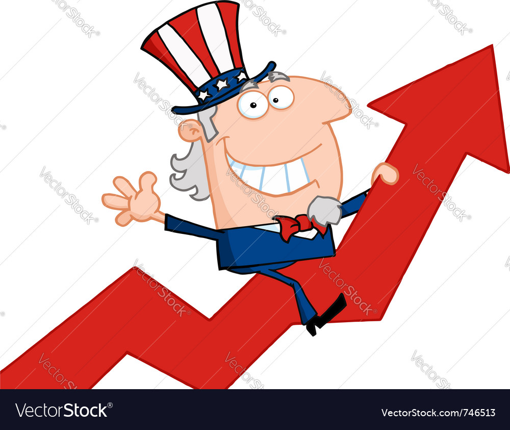 Uncle sam riding a growth arrow vector | Price: 1 Credit (USD $1)