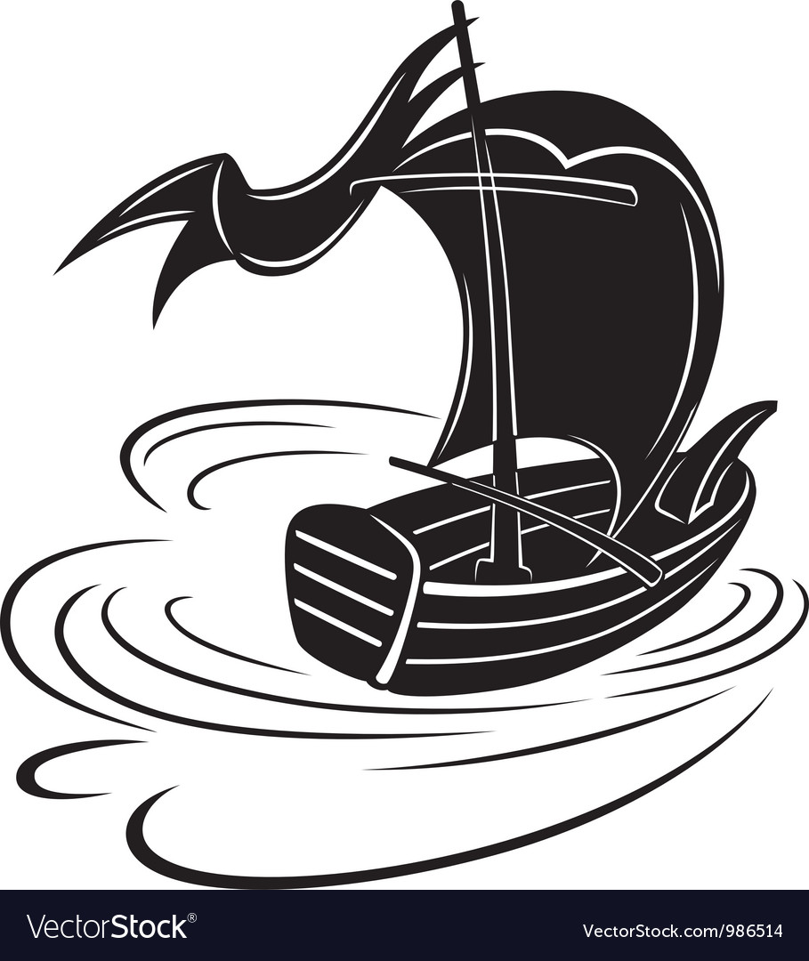 Boat with a sail vector | Price: 1 Credit (USD $1)