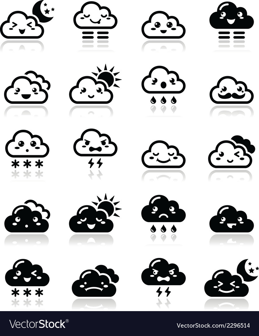 Cute cloud - kawaii manga black icons with differ vector | Price: 1 Credit (USD $1)