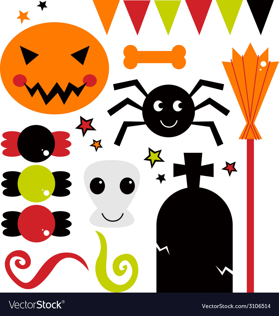 Cute design elements for halloween vector | Price: 1 Credit (USD $1)