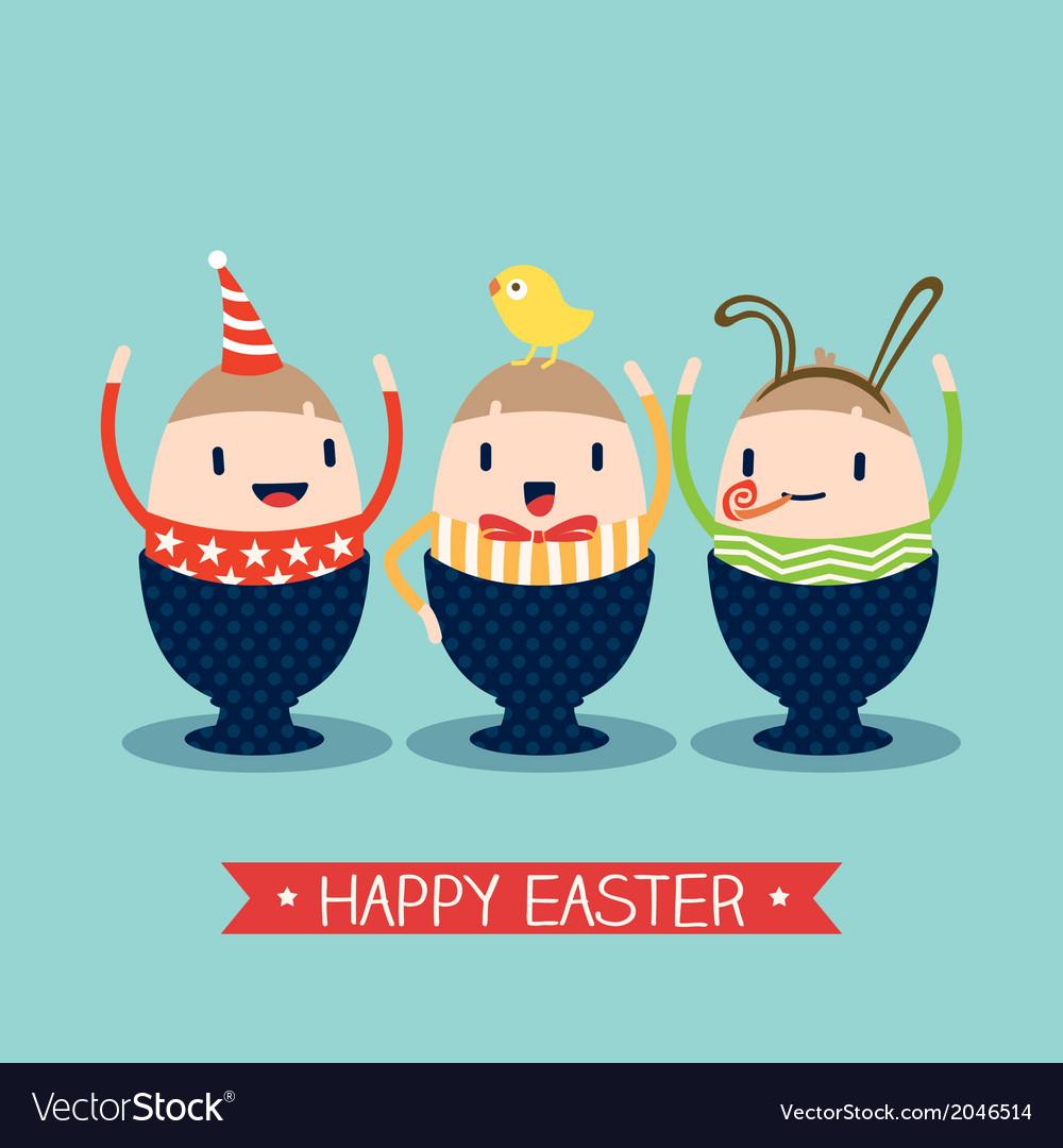 Cute happy easter egg cartoon vector | Price: 1 Credit (USD $1)