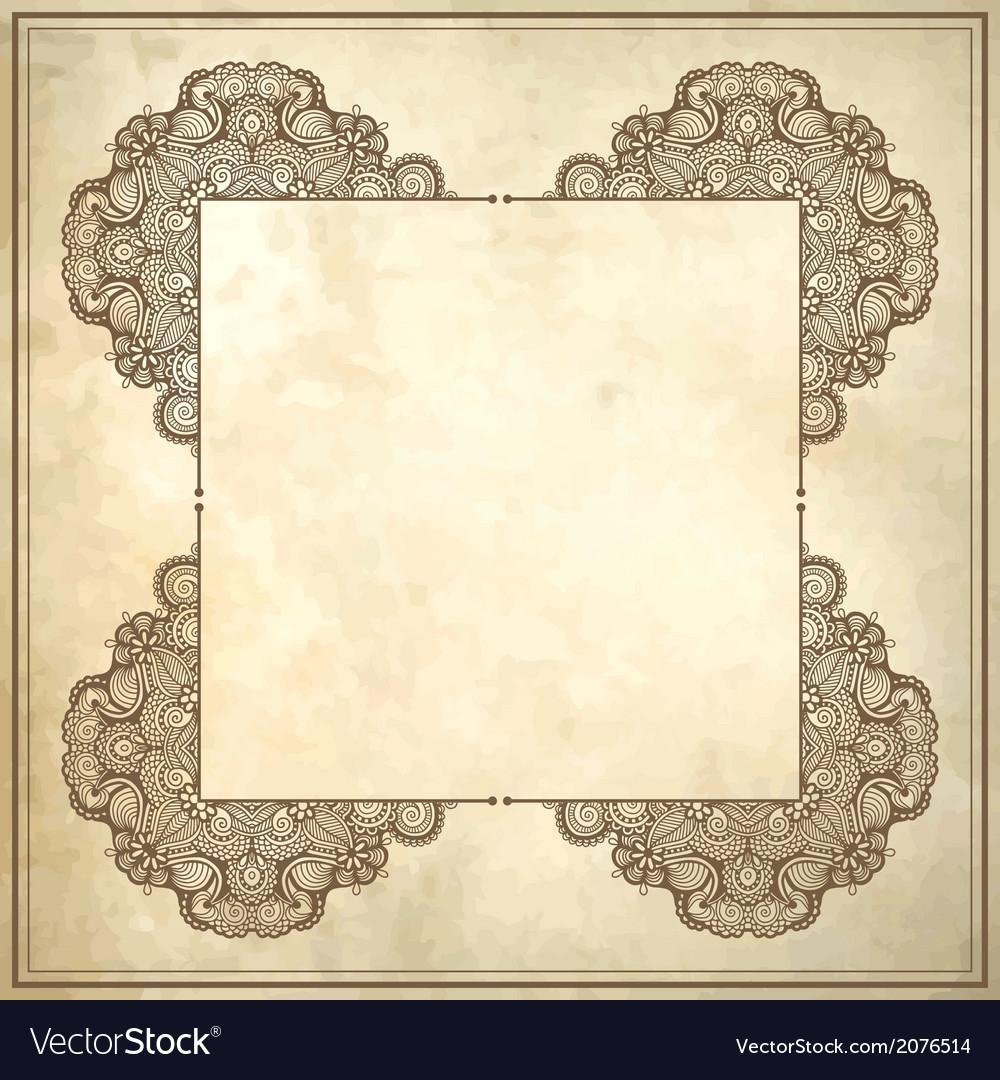 Flower frame design on grunge background vector | Price: 1 Credit (USD $1)