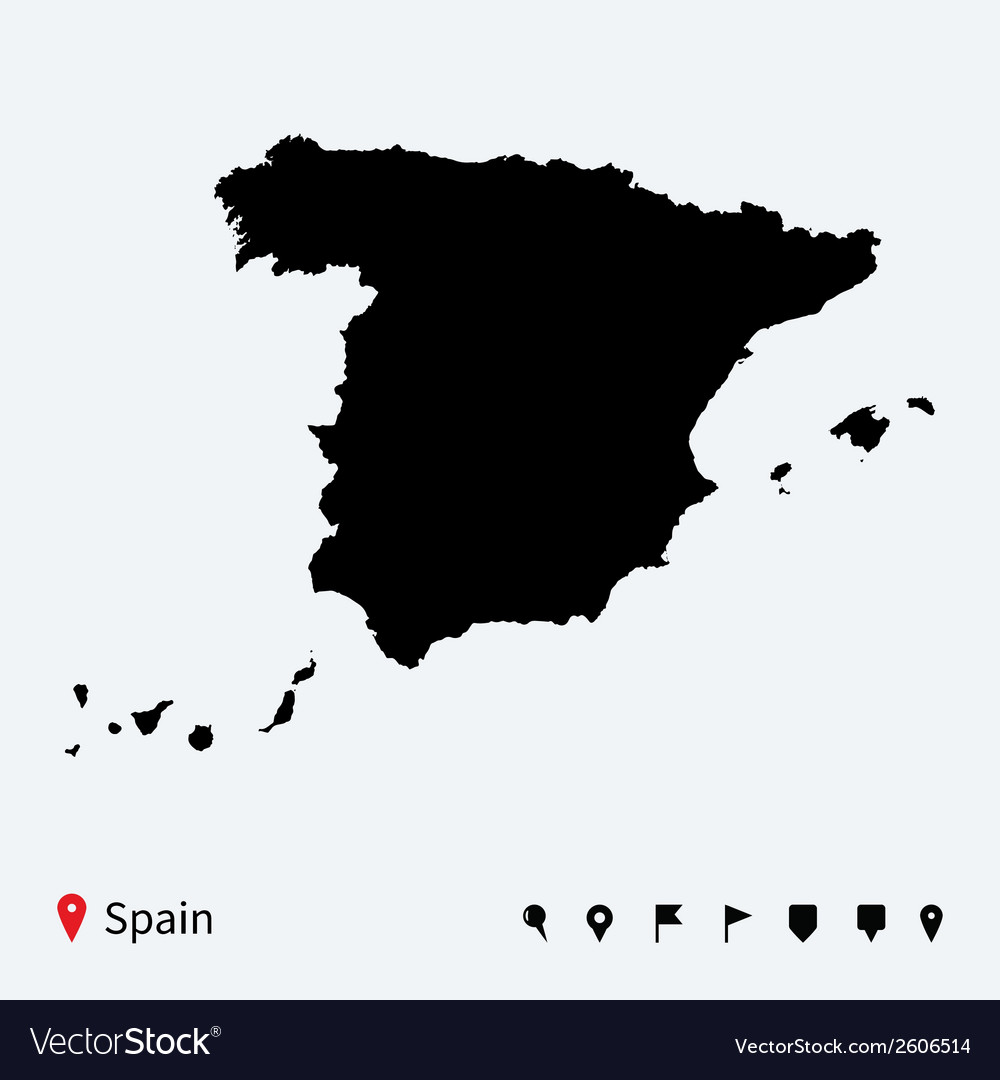 High detailed map of spain with navigation pins vector | Price: 1 Credit (USD $1)