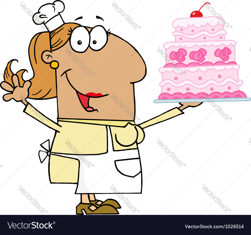 Hispanic cartoon cake baker woman vector | Price: 1 Credit (USD $1)