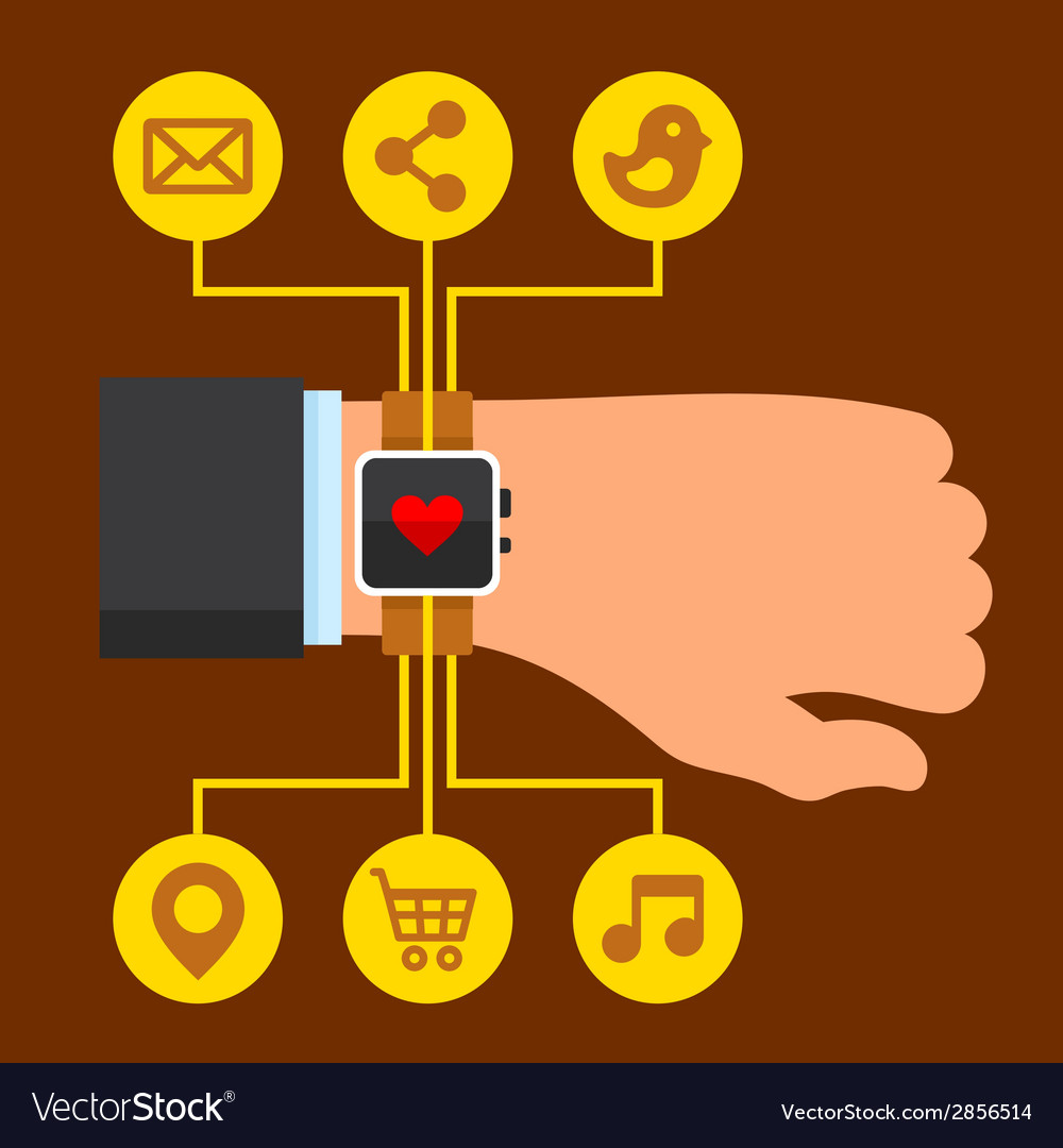 Infographics arm with a smartwatch in flat design vector | Price: 1 Credit (USD $1)