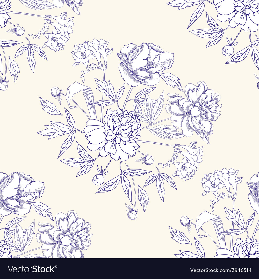 Seamless pattern with bouquet of flowers-06 vector | Price: 1 Credit (USD $1)