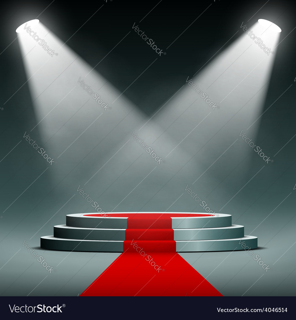 Spotlights illuminate the pedestal with red carpet vector | Price: 1 Credit (USD $1)
