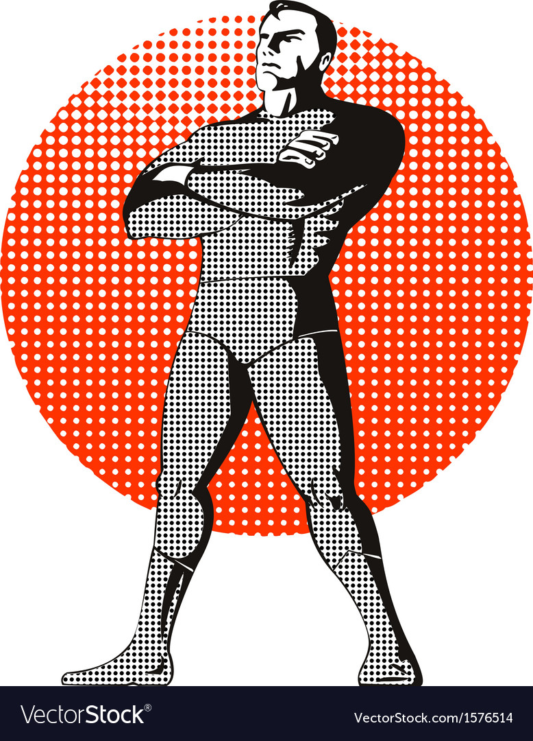 Super hero standing retro vector | Price: 1 Credit (USD $1)