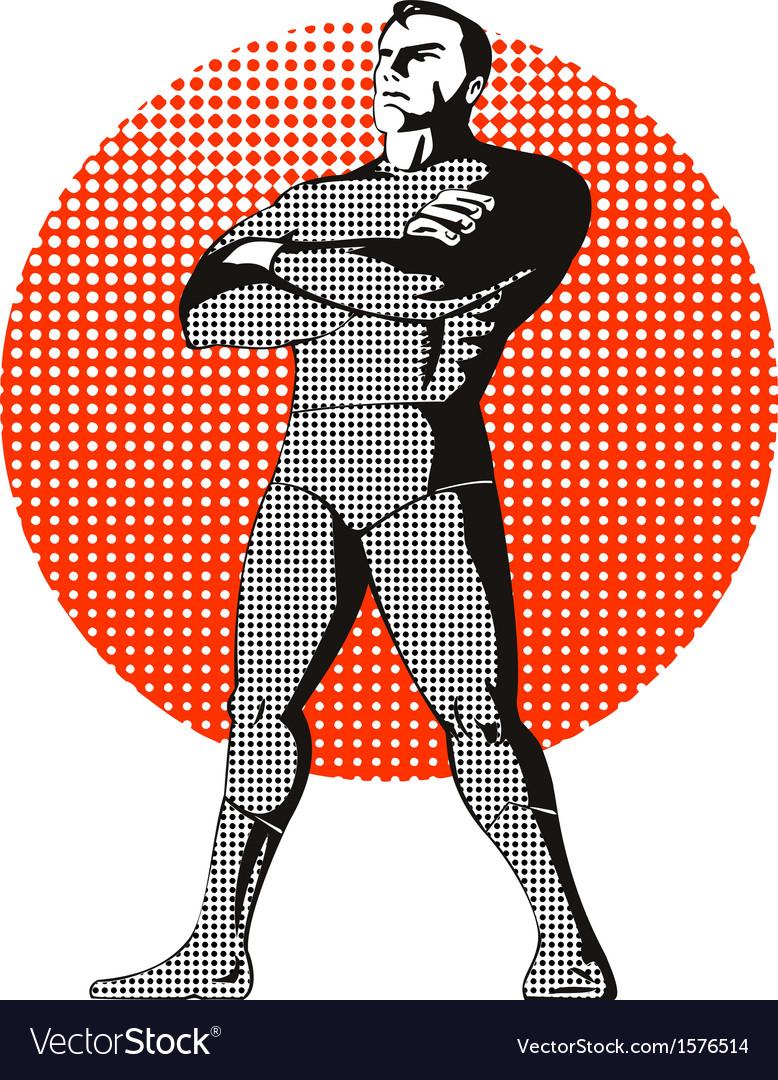 Super hero standing retro vector   Price: 1 Credit (USD $1)