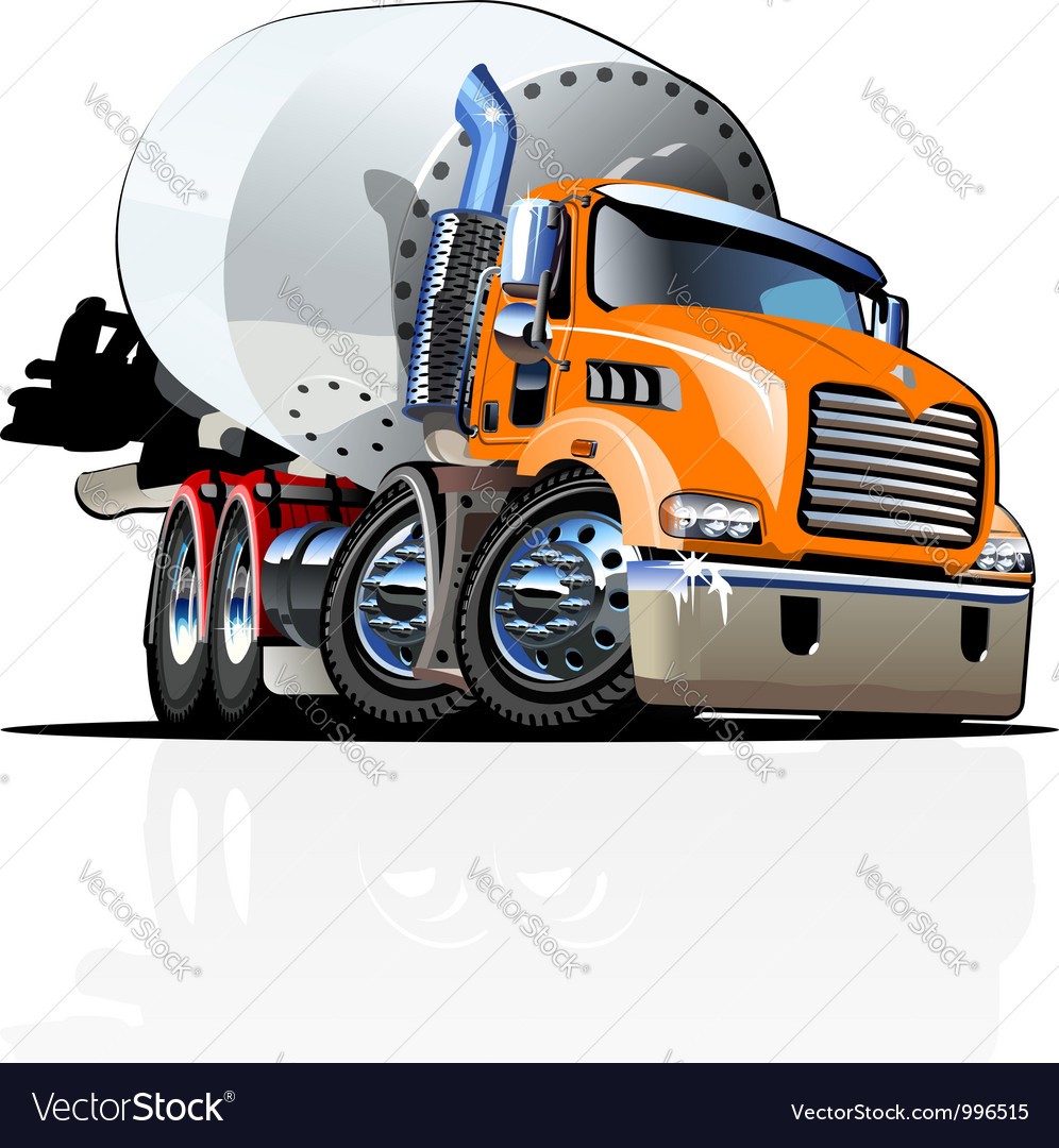 Cartoon mixer truck one click repaint option vector | Price: 3 Credit (USD $3)